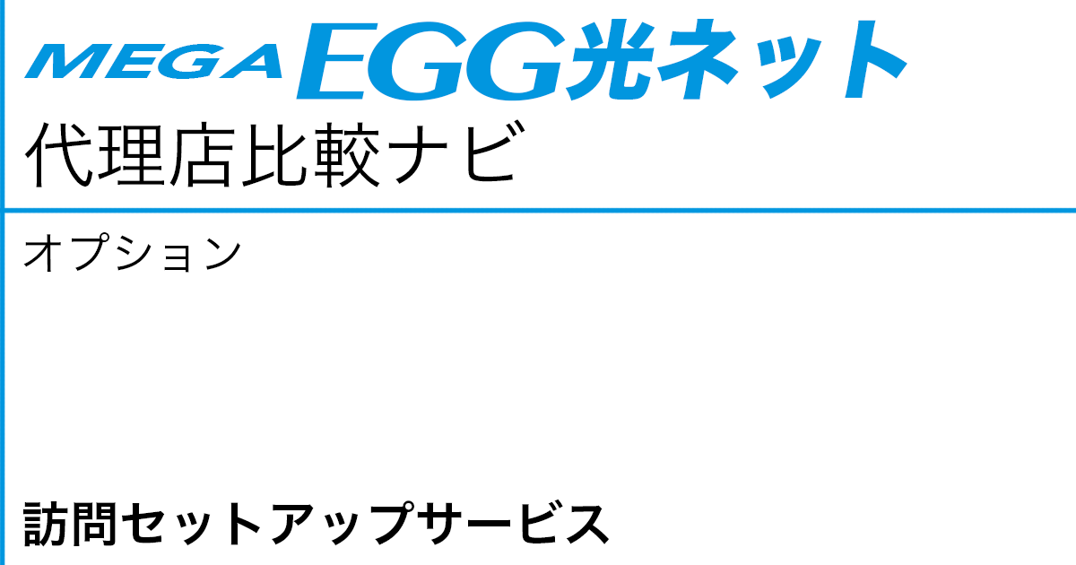 メガ・エッグ 光ネット オプション「訪問セットアップサービス」